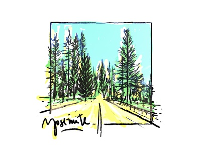 Yosemite postcard traveldiary travel los angeles road landscape park forest california hand drawn brushes art design illustration yosemite