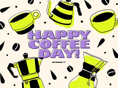 Happy International Coffee Day! colors texture textured art direction artwork artist kalita chemex typography art typographic typogaphy coffee bean coffee coffee cup brushes hand drawn vector art design illustration