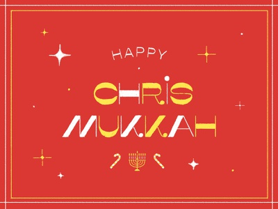 Happy Chrismukkah! greetings card greetings card brushes poster art design christmas card typography vector illustration merrychristmas happy christmas hanukkah chrismukkah christmas