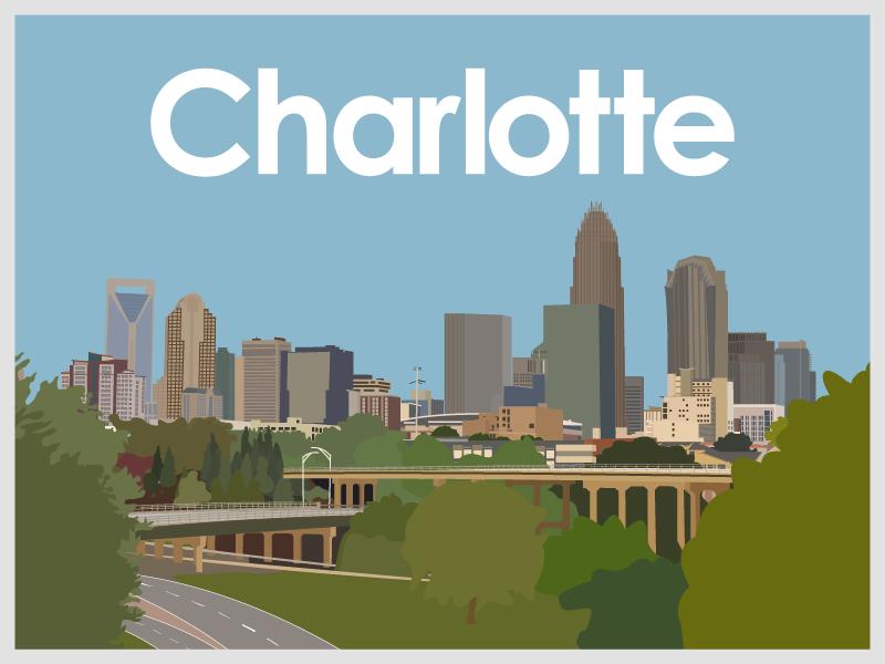 Charlotte uptown set graphicdesign landscape cityscape skyscraper city charlotte graphic design illustration design vector