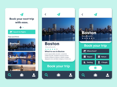 Travel Booking App Landing Page and Location Pages