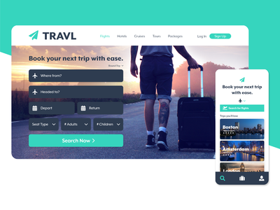 Travel Booking App Site and Mobile Landing Page