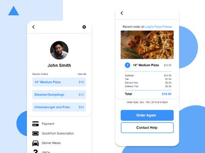Food Delivery App Profile Page