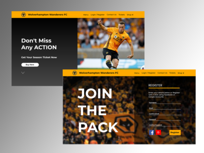 Wolves Landing Page + Sign In Page Concepts