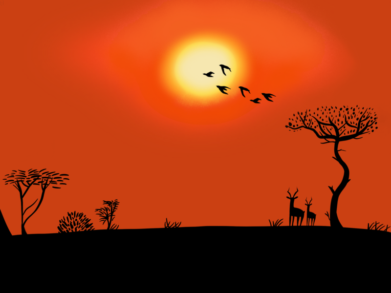 Namibian landscape illustration landscape namibia africa sunset colors colorful