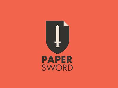 Paper Sword logo shield pape sword sword paper
