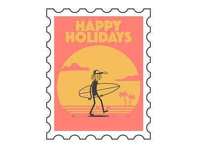 Happy Holidays stamp surfer surf board beach surfing surf holidays