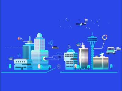 Futuristic City buildings flying car city futuristic city future