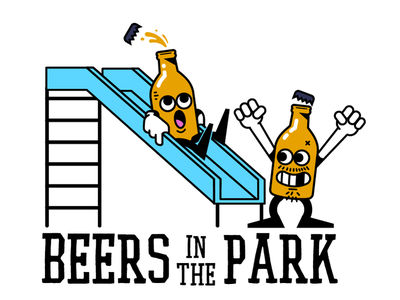 Beers in the park beer bottle slide park character beer