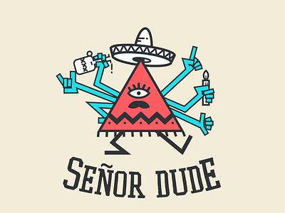 Senor Dude triangle mustache mexican sombrero illustration character
