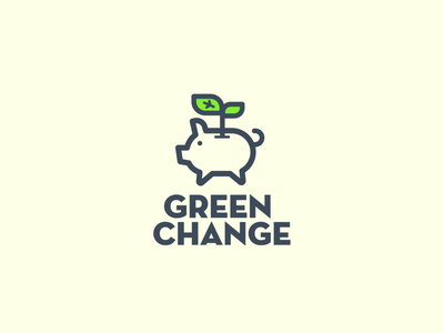 Green Change Logo logo piggy plant leaf green change