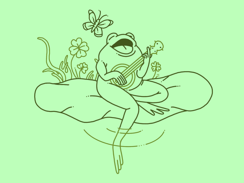 This Is My Song procreate banjo nature butterfly character illustration cute singing toad frog