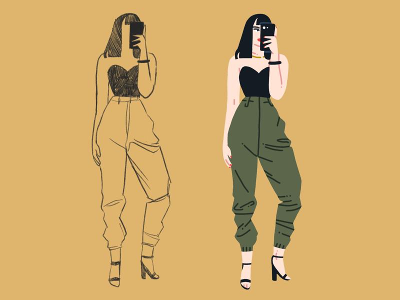 Selfie procreate selfie cute character design illustration fashion