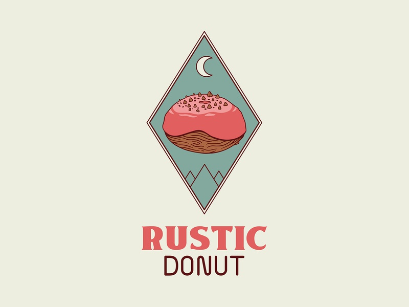 Rustic Donut Logo sprinkles icing woodgrain wood dairy free gluten free packaging mountains graphic design vector colorado boho illustration vegan logo donuts