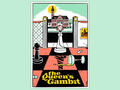 The Queen's Gambit 5 color addiction procreate netflix russia design graphic design book cover chess illustration