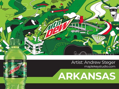 Limited Edition Arkansas Mountain Dew Label cheese dip animal art the natural state canoe hogs pinnacle mountain hawksbill crag diamond summer limited edition hot springs arkansas river arkansas soda bottle label packaging vector illustration graphic design