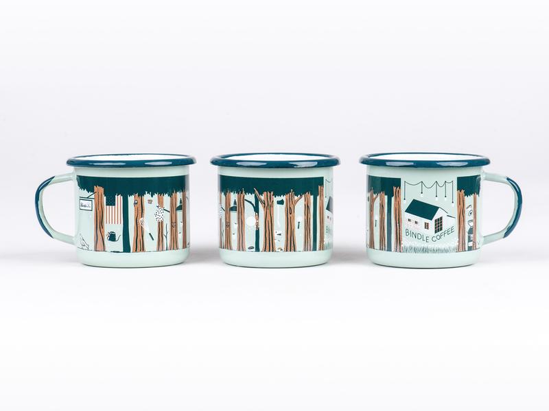 Bindle Coffee Enamel Mug 2018 coffeeshop trees forest coffee colorado vector illustration graphic design