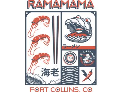 Ramamama Ramen Pop-up T-shirt Design