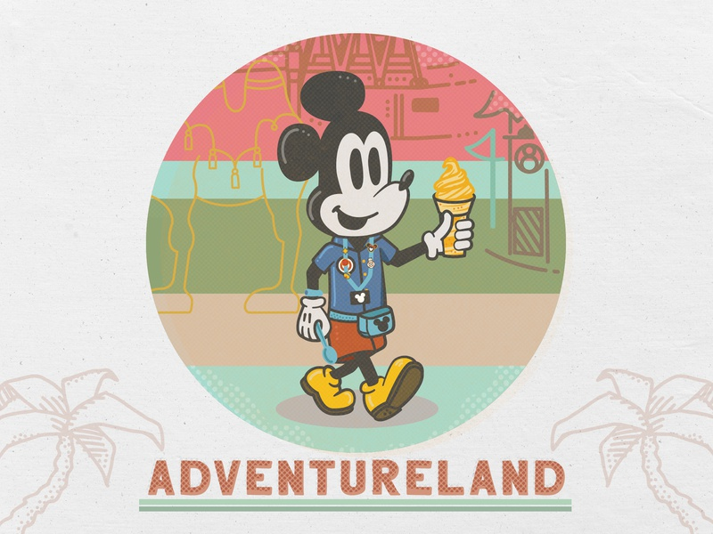 Dole Whip Mickey in Adventureland summer graphic design for fun disney orlando florida palmtree lanyard adventureland disney world illustration dole whip mickey mouse