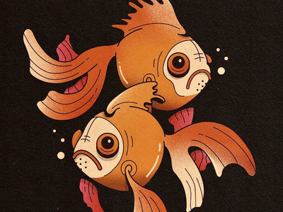 Sad Fish texture graphic design character illustration
