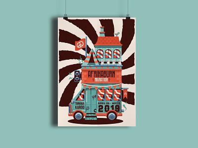 Afrikaburn Migration vector festival music event poster design illustration