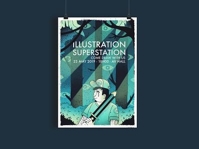 Illustration Superstation graphic design character halftone design event poster illustration
