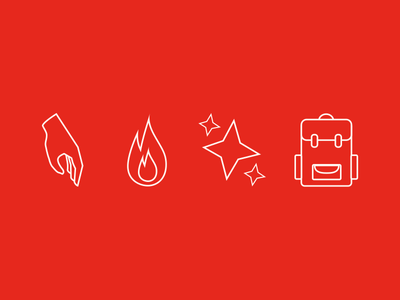 Icon Set sketch web design illustration startup red backpack sparkle flame hand icons icon