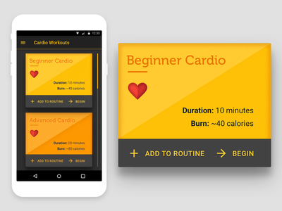 UI 8 - Fitness Card yellow material design user interface ui 100 days of ui
