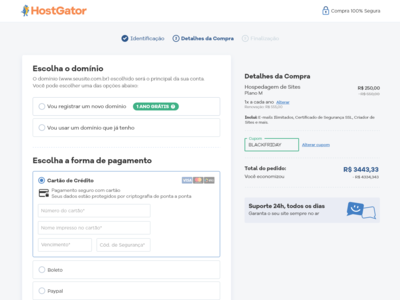 Checkout exercise / HostGator Brazil checkout form checkout page checkout process design web ui conversion rate optimization