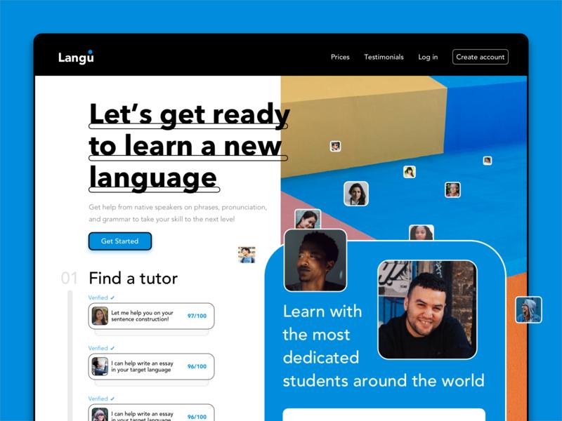 Langu - Language Learning App web design webdesign website uiux web ux flat branding design ui