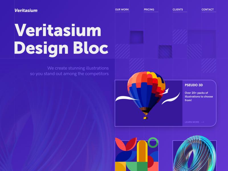 Veritasium Design Bloc - Web Page affinity photo webdesigns webdesign keyshot9 keyshot affinity designer affinity website vector illustrator illustration web ux design ui
