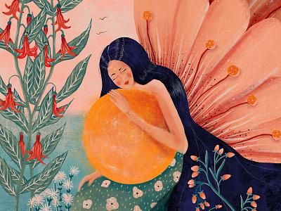 Goddess goddess rose plants sunset nature lady girl flora fauna illustration design