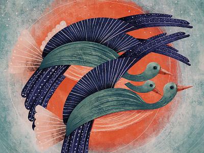Birds green red sun goose bird design illustration