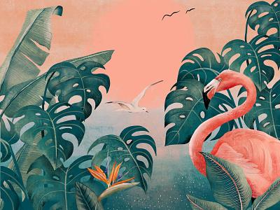 Flamingo bird rose plants green sunset nature fauna flora design flamingo illustration