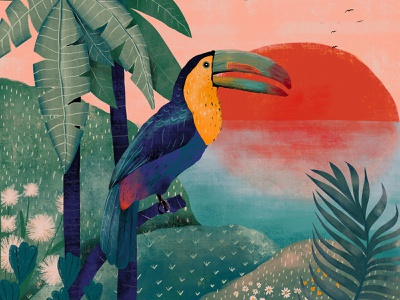 Tropical paradise tropical palm parrot plants red bird green sunset fauna flora nature design illustration