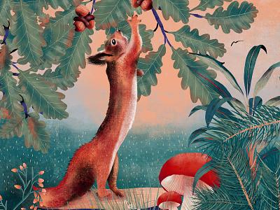 Squirrel nuts mushroom sunset nature fauna flora red squirrel plants green design illustration