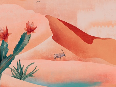 Mirage orange green castle mirage desert sunset nature fauna flora plants design illustration
