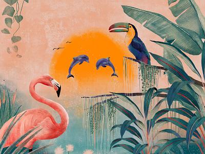 Secret oasis dolphin oasis flamingo orange red plants nature green flora fauna sunset illustration design
