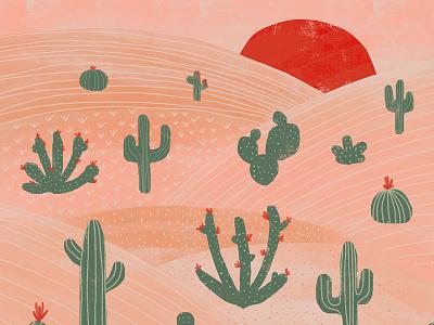 Desert desert cactus red flora plants green sunset nature illustration design