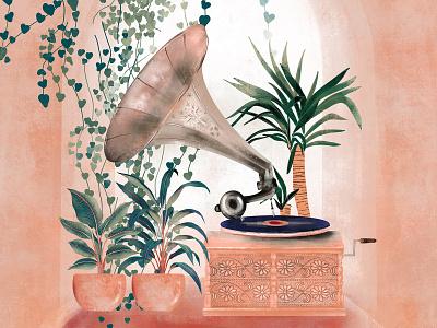 Enchanted music gramophone plants rose illustration design