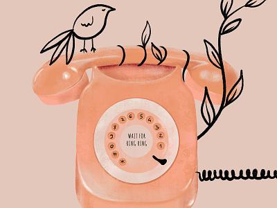 Ring ring telephone ring bird rose illustration design