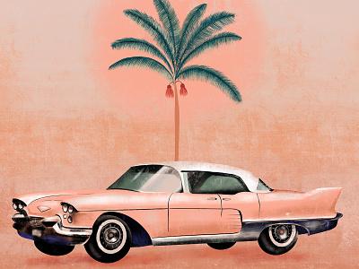 Cadillac palmtree sunset car palms cadillac palm pink rose illustration design