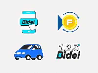 Stickers smartphone finance car startup illustrator vector sticker set sticker illustration
