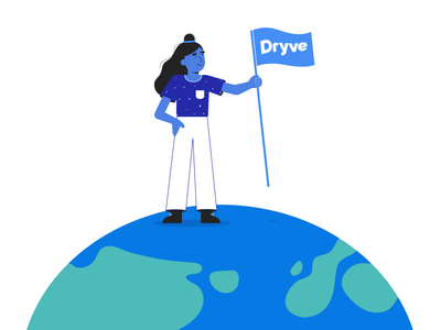 Conquering the world onboarding illustrator world flat girl 2d character illustration