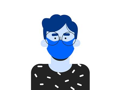 Wear mask character 2d startup onboarding illustrator covid mask illustration