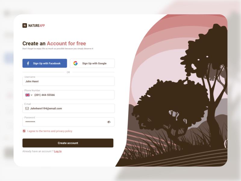 Sign up page / Registration form ui design sign up app design account design web design ux  ui register daily ui flat design registration form signup