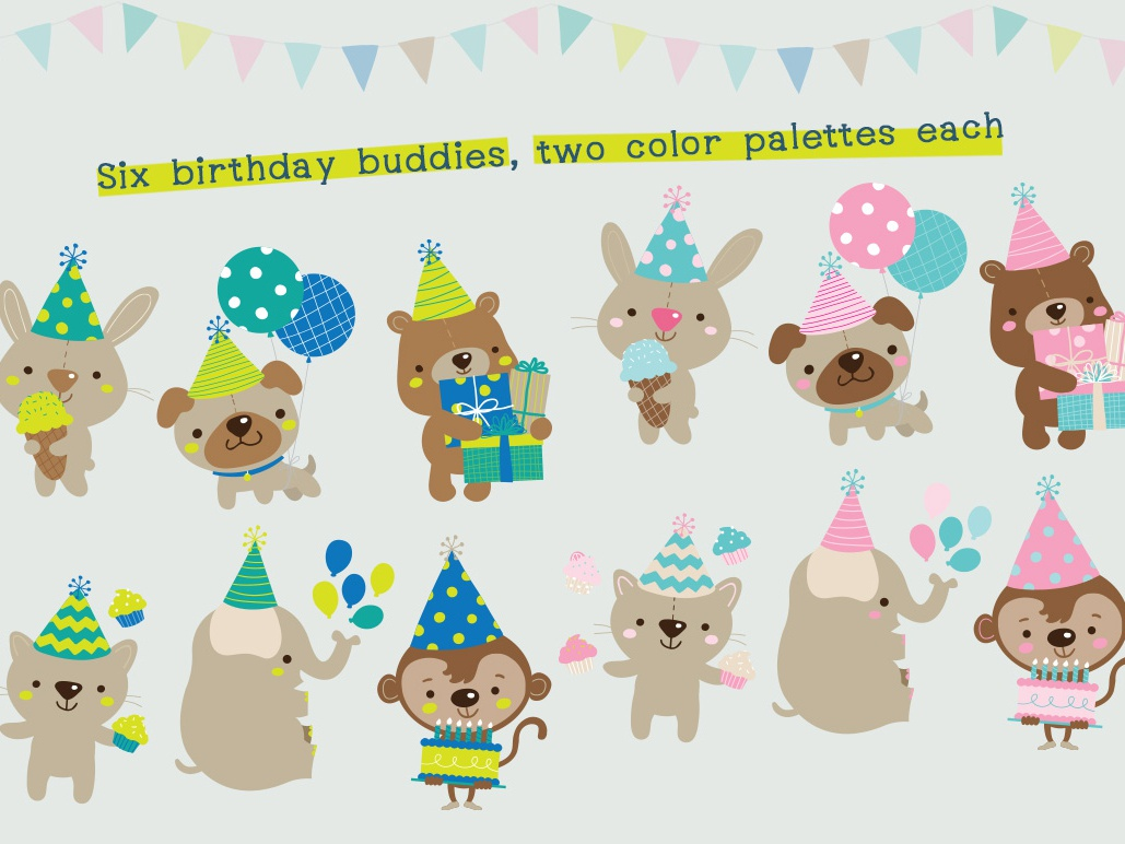 Birthday Buddies graphics vector monkey elephant balloon pug character kids party bear cat character design kawaii cute illustration birthday