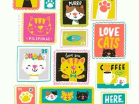Cat stamps! procreate lettering mail post sticker stamp kids character design character cute kawaii vector drawing illustration cat