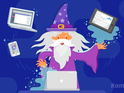 Tech Wizard dumbledore computer tech wiz tech tech wizard wizard vector illustration vector art animated gif motion graphics illustration animation