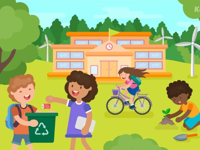 How Can Schools Reduce Their Waste? environmentally friendly recycling education school environmental green flat design vector illustration vector art illustration